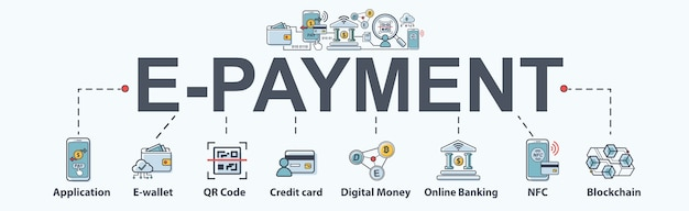 Electronic-payment banner web icon for business