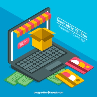 Electronic payment, isometric style
