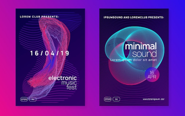 Electronic poster. trendy concert brochure set. dynamic fluid shape and line. neon electronic poster. electro dance dj. music sound fest. night club event flyer. techno party.