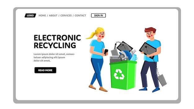 가제트 벡터와 전자 재활용 쓰레기통입니다. 전자 재활용 바구니에 깨진 장치를 들고 남자와 여자. 손상된 전기 장비 웹 플랫 만화 일러스트와 함께 캐릭터