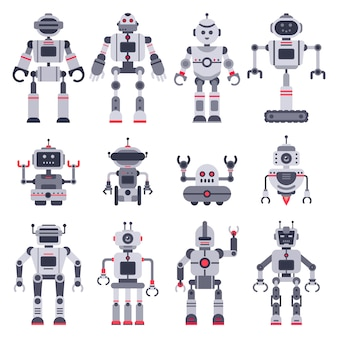 Electronic robot toys, cute chatbot mascot and robotic toy characters set