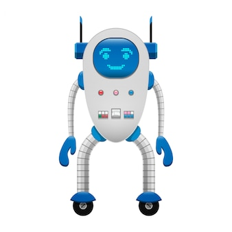 Electronic robot on wheels isolated illustration