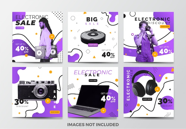 Electronic sale social media banner template collection with purple fluid background