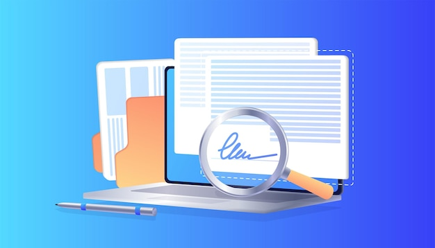 Electronic signature on laptop business esignature technology verification of intent to sign