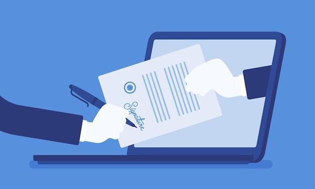 노트북에 전자 서명입니다. 비즈니스 전자 서명 기술, 전자적으로 전송되는 문서에 디지털 형식을 첨부, 계약 서명 의도 확인, 법적 거래. 벡터 일러스트 레이 션