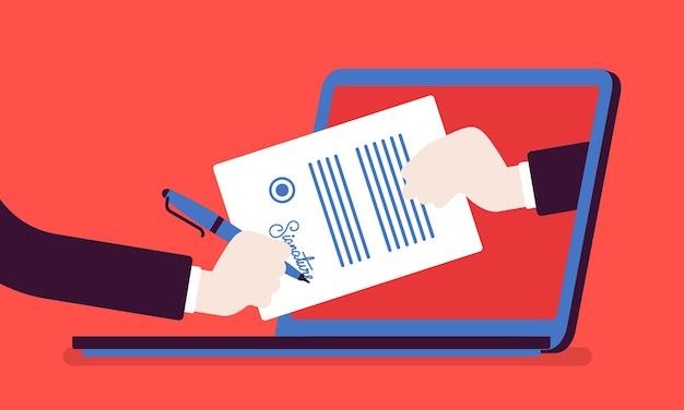 Электронная подпись на ноутбуке. технология business esignature, цифровая форма, прикрепленная к документу, переданному в электронном виде, проверка намерения подписать договор, юридическая сделка. векторная иллюстрация