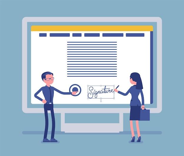 Pc画面上の電子署名。男性と女性のビジネスパートナーシップ署名契約のための電子署名技術、電子形式の安全な電子商取引データ。ベクトルイラスト、顔のない文字