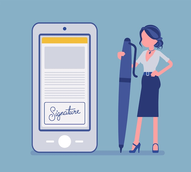 Electronic signature on smartphone, female manager with pen. business esignature technology, electronically transmitted document digital form to sign agreement. vector illustration, faceless character