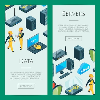 Electronic system of data center icons web banner templates illustration