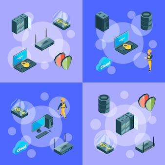 데이터 센터 아이콘의 전자 시스템