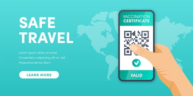 Electronic valid covid19 vaccination certificate qr code smartphone screen vector  health pass app