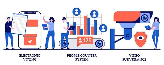 전자 투표, 사람 카운터 시스템, 비디오 감시 개념. 보안 기술의 집합입니다.