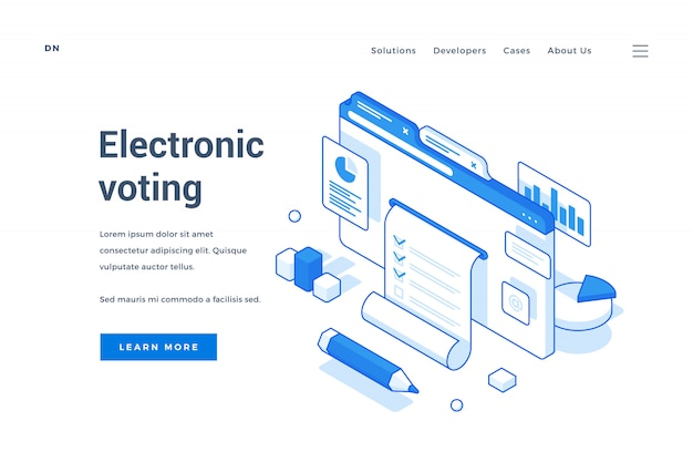 Electronic voting service landing page