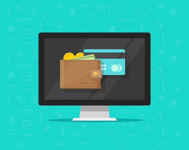 Electronic wallet on computer icon flat cartoon