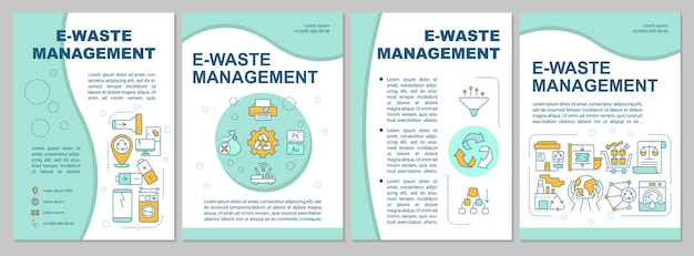 Electronic waste management brochure template. nature protection. flyer, booklet, leaflet print, cover design with linear icons.