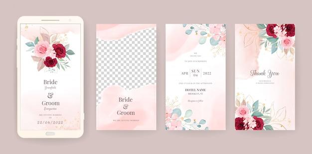 전자 결혼식 초대 카드 템플릿을 꽃과 수채화 배경으로 설정합니다. 소셜 미디어 이야기를위한 꽃 그림, 날짜, 인사말, rsv를 저장, 감사합니다