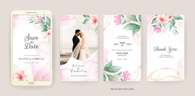 수채화와 금 꽃으로 설정 전자 결혼식 초대 카드 템플릿.
