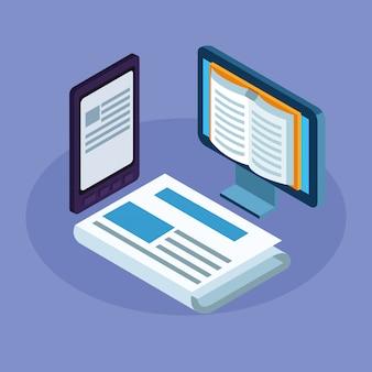 Книги по электронике на рабочем столе и планшете