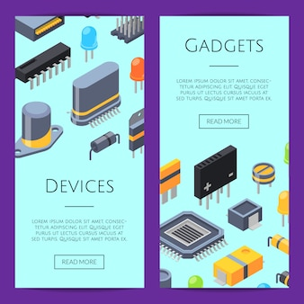 전자 카드. 마이크로 칩 및 전자 부품