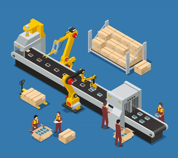 Electronics factory composition with engineer monitoring robotic conveyor and workers stacking production