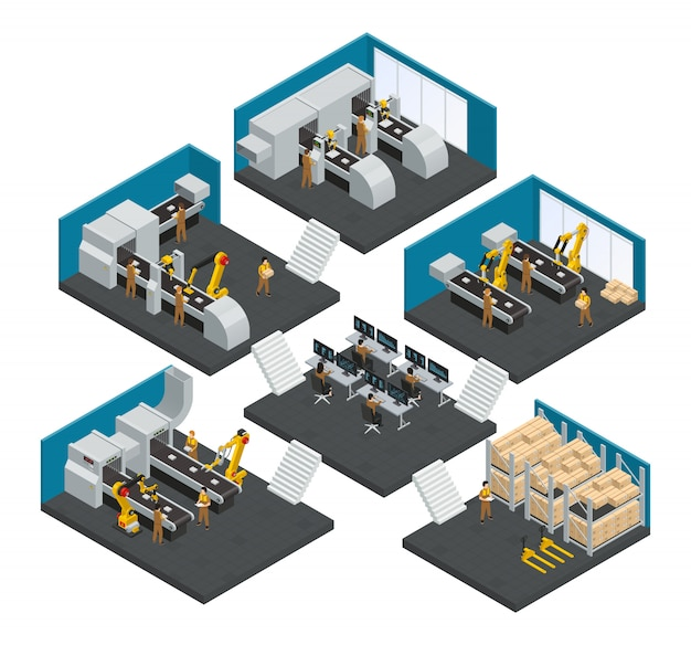 Electronics factory multistory composition with staff working in highly technological robotic equipment