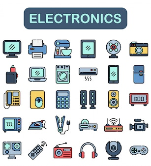 Electronics icons set, lineal color style