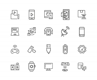 Electronics icons. Set of twenty line icons. Mobile phone, data storage, satellite.