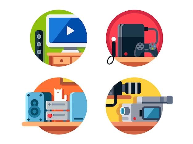 전자 제품, 음악 센터, 텔레비전 및 비디오 게임 콘솔.