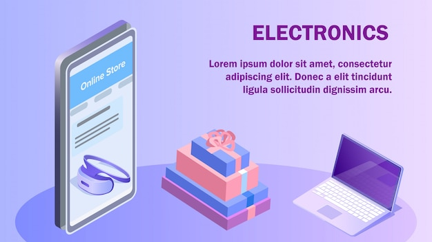 Electronics online store isometric banner template
