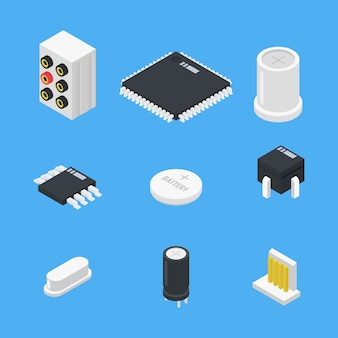 Electronics parts set icon in isometric style
