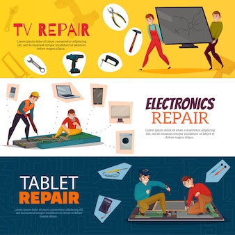 Electronics repair horizontal with laptop tv and computer