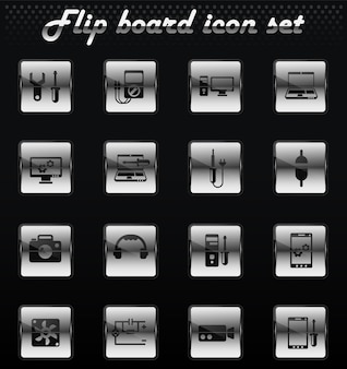 Electronics repair vector flip mechanical icons for user interface design