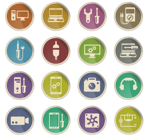 Ремонт электроники векторные иконки в виде круглых бумажных этикеток