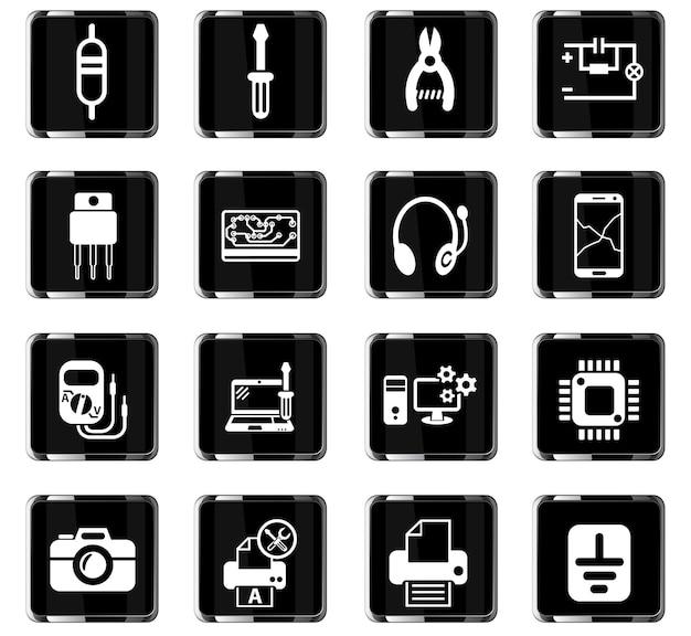 Электроника ремонт веб-иконки для дизайна пользовательского интерфейса