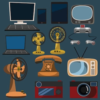 Electronics set vector illustration