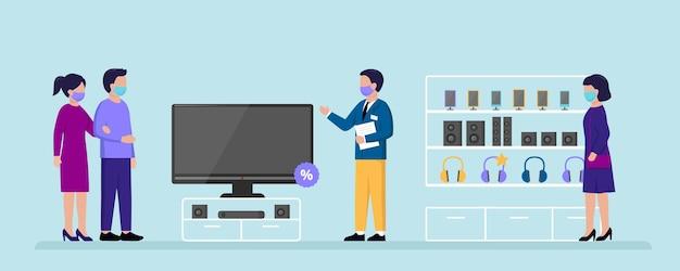 電器店のコンセプト。エレクトロニクススーパーマーケットで購入する家電製品を選択する人々。
