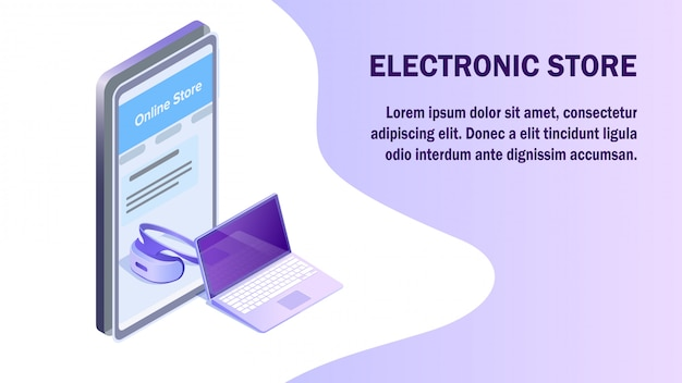 Electronics supermarket isometric banner template