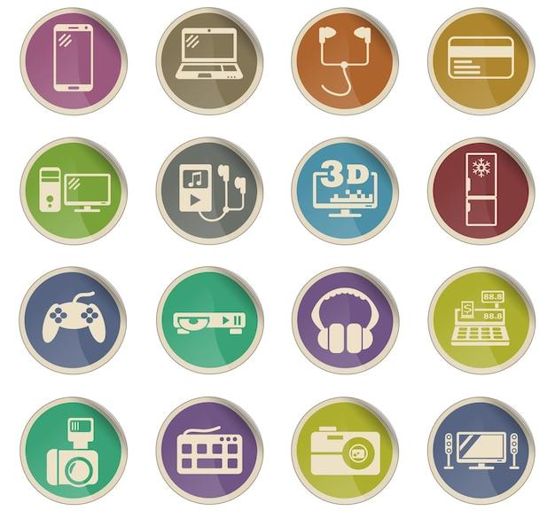 Веб-символы супермаркета электроники в виде круглых бумажных этикеток
