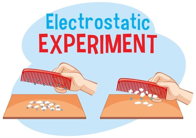 くしと紙を使った静電実験