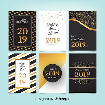 Elegahappy new year 2019 cards set