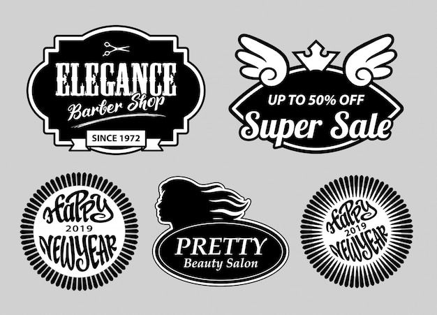 Elegance barber shop and new year label badges
