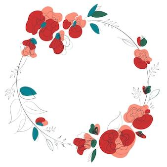 プリントデザインの白い背景に花輪とエレガンスカード。美容ファッションデザイン。植物の結婚式のフレーム。ロマンチックな季節の背景。