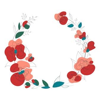 印刷デザインの白い背景に花の花輪とエレガンスカード。