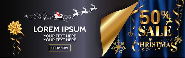 Elegance christmas sale banner design for web, poster in gold and blue background with copy space.