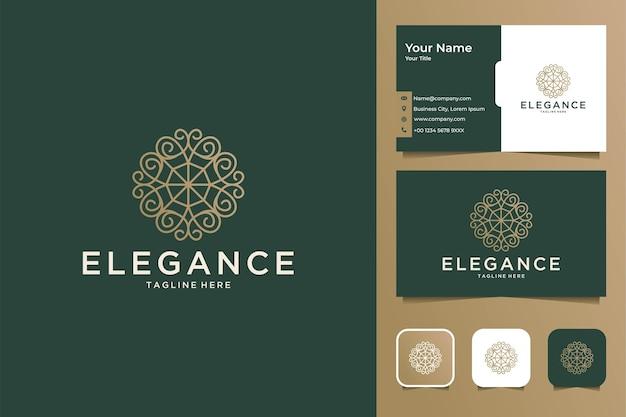 우아한 꽃 라인 아트 로고 디자인 및 명함