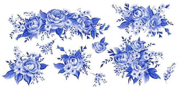 핑크 꽃 꽃다발 흰색 배경에 고립 된 우아함 그림. 색상 디자인 요소입니다.