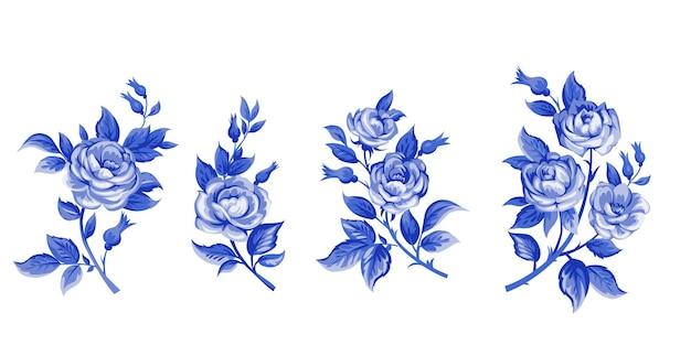 Элегантность иллюстрация с букетом розовых цветов, изолированные на белом фоне. цветные элементы дизайна.