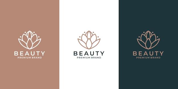 あなたのビジネスサロン、スパ、化粧品ホテルなどのための優雅な蓮の花のロゴデザインベクトル