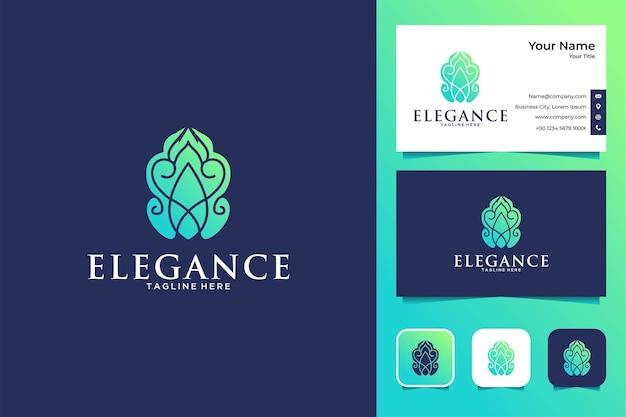 우아함 식물 로고 디자인 및 명함