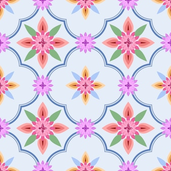 Elegance seamless pattern with ethnic flowers on blue background.